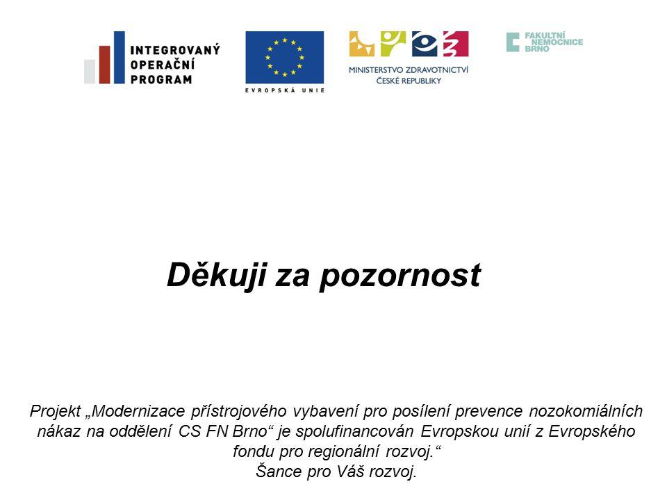 """Děkuji za pozornost Projekt """"Modernizace přístrojového vybavení pro posílení prevence nozokomiálních nákaz na oddělení CS FN Brno je spolufinancován Evropskou unií z Evropského fondu pro regionální rozvoj. Šance pro Váš rozvoj."""