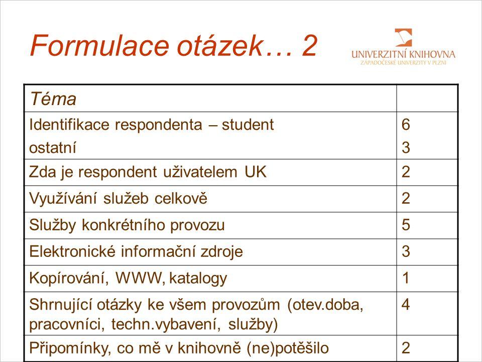 Formulace otázek… 2 Téma Identifikace respondenta – student ostatní 6363 Zda je respondent uživatelem UK2 Využívání služeb celkově2 Služby konkrétního provozu5 Elektronické informační zdroje3 Kopírování, WWW, katalogy1 Shrnující otázky ke všem provozům (otev.doba, pracovníci, techn.vybavení, služby) 4 Připomínky, co mě v knihovně (ne)potěšilo2