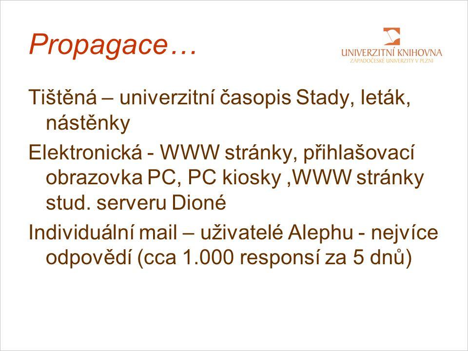 Propagace… Tištěná – univerzitní časopis Stady, leták, nástěnky Elektronická - WWW stránky, přihlašovací obrazovka PC, PC kiosky,WWW stránky stud.