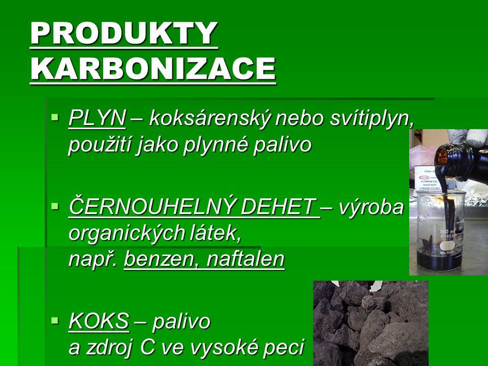 PRODUKTY KARBONIZACE  PLYN – koksárenský nebo svítiplyn, použití jako plynné palivo  ČERNOUHELNÝ DEHET – výroba organických látek, např.
