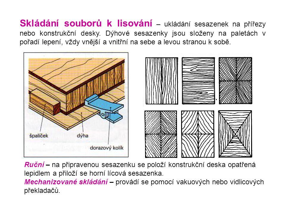 Skládání souborů k lisování – ukládání sesazenek na přířezy nebo konstrukční desky. Dýhové sesazenky jsou složeny na paletách v pořadí lepení, vždy vn
