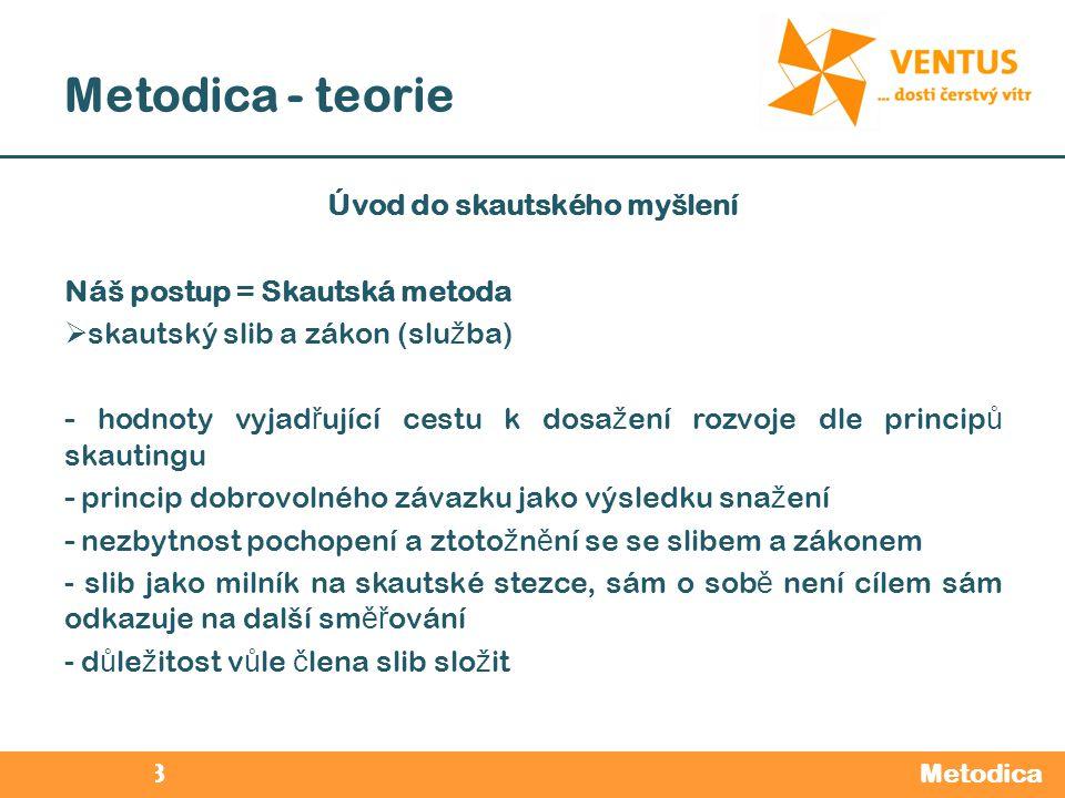 2012 / 2013 Metodica - teorie Metodica Úvod do skautského myšlení Náš postup = Skautská metoda  skautský slib a zákon (slu ž ba) - hodnoty vyjad ř uj