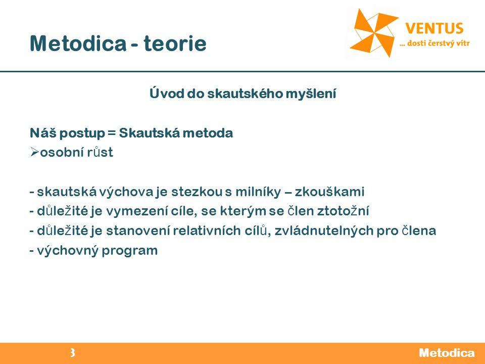 2012 / 2013 Metodica - teorie Metodica Úvod do skautského myšlení Náš postup = Skautská metoda  osobní r ů st - skautská výchova je stezkou s milníky
