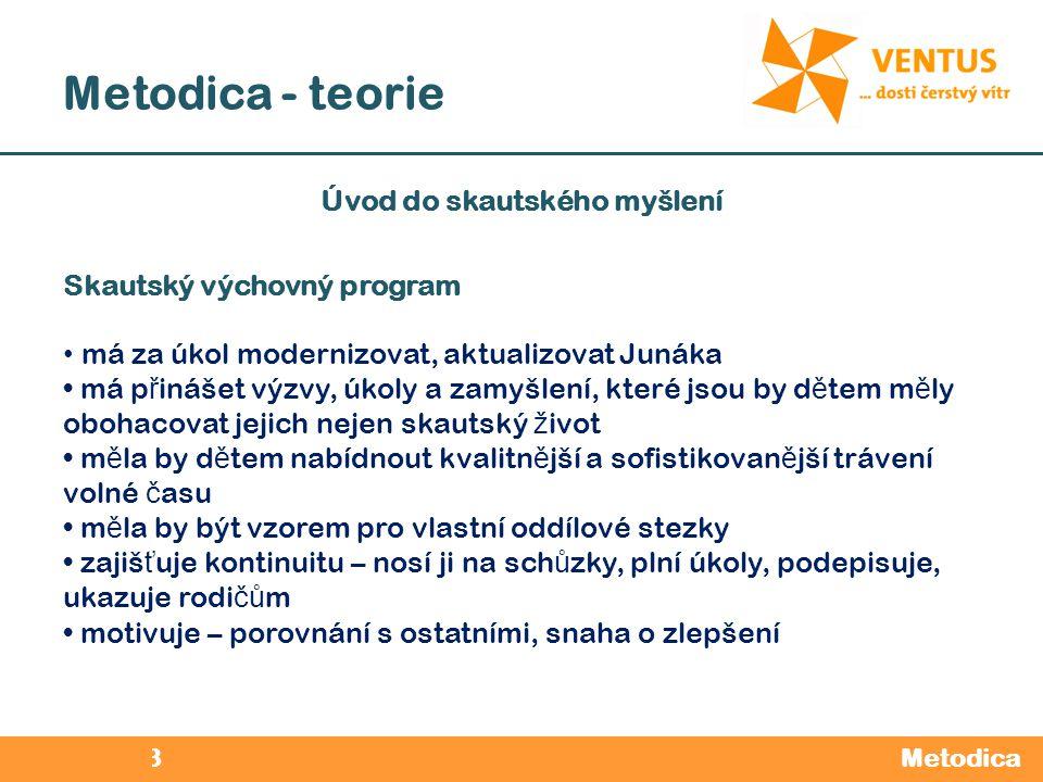 2012 / 2013 Metodica - teorie Metodica Úvod do skautského myšlení Skautský výchovný program má za úkol modernizovat, aktualizovat Junáka má p ř inášet