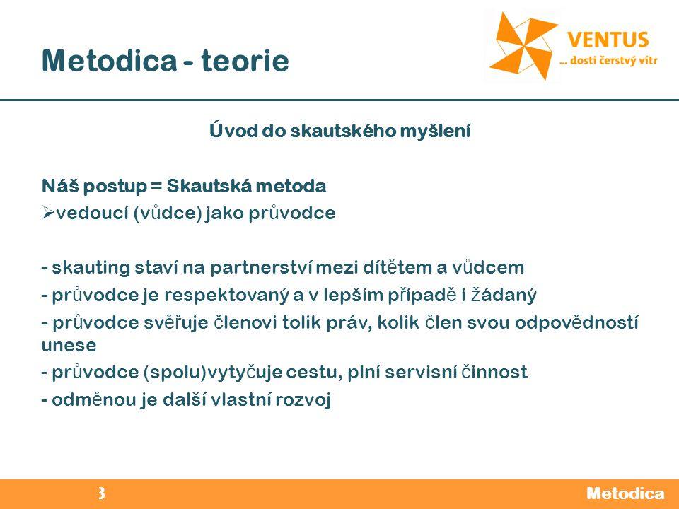 2012 / 2013 Metodica - teorie Metodica Úvod do skautského myšlení Náš postup = Skautská metoda  vedoucí (v ů dce) jako pr ů vodce - skauting staví na