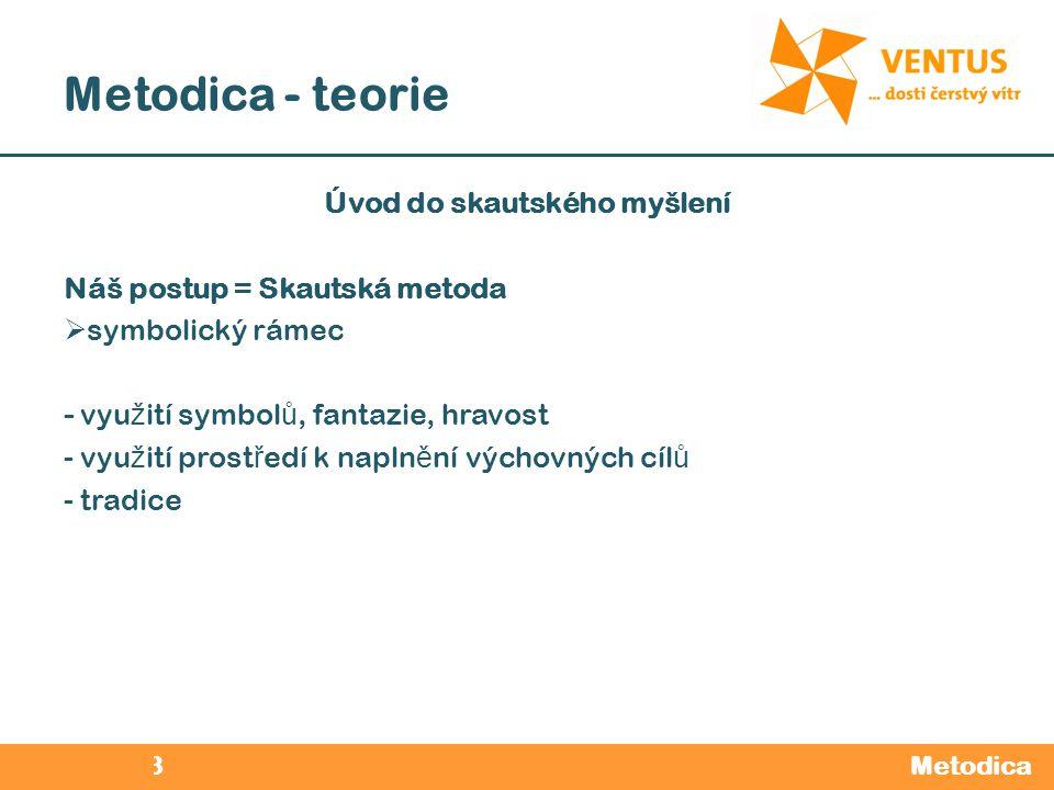 2012 / 2013 Metodica - teorie Metodica Úvod do skautského myšlení Náš postup = Skautská metoda  symbolický rámec - vyu ž ití symbol ů, fantazie, hrav