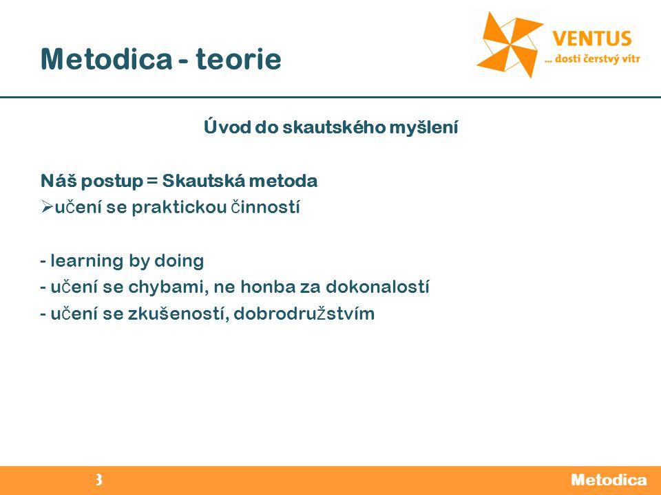 2012 / 2013 Metodica - teorie Metodica Úvod do skautského myšlení Náš postup = Skautská metoda  u č ení se praktickou č inností - learning by doing -