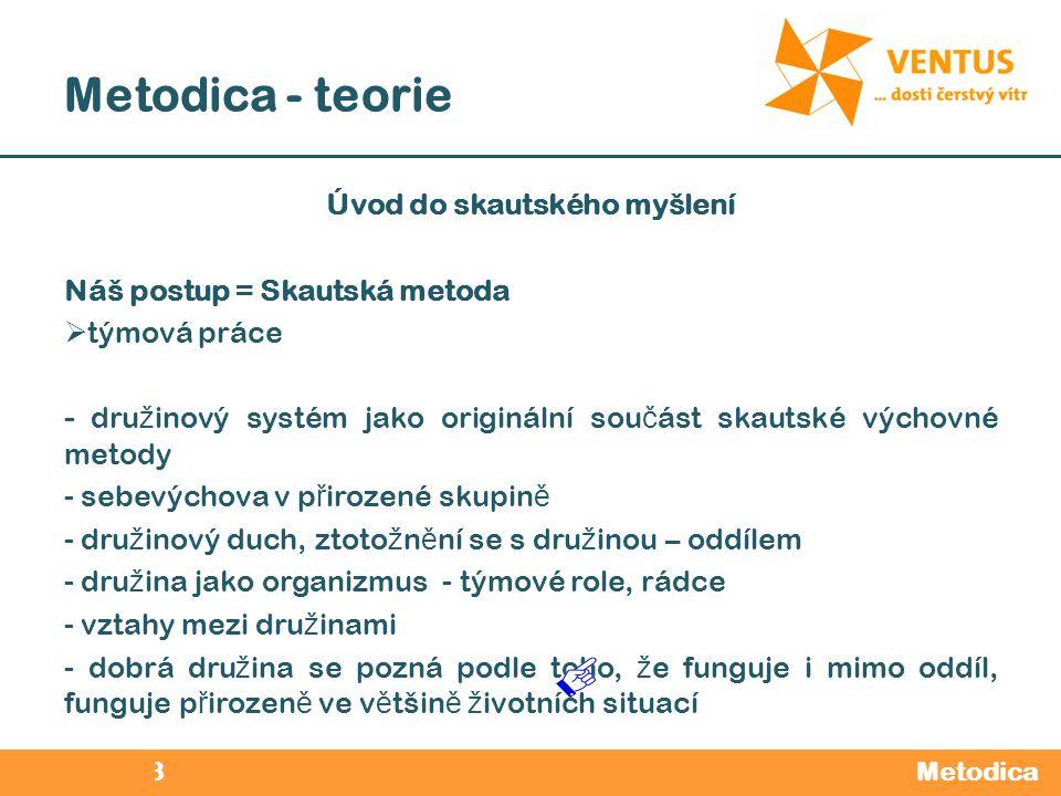 2012 / 2013 Metodica - teorie Metodica Úvod do skautského myšlení Náš postup = Skautská metoda  týmová práce - dru ž inový systém jako originální sou