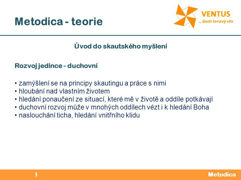 2012 / 2013 Metodica - teorie Metodica Úvod do skautského myšlení Rozvoj jedince - duchovní zamýšlení se na principy skautingu a práce s nimi hloubání