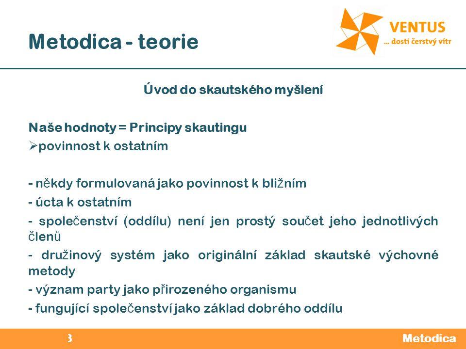 2012 / 2013 Metodica - teorie Metodica Úvod do skautského myšlení Naše hodnoty = Principy skautingu  povinnost k ostatním - n ě kdy formulovaná jako