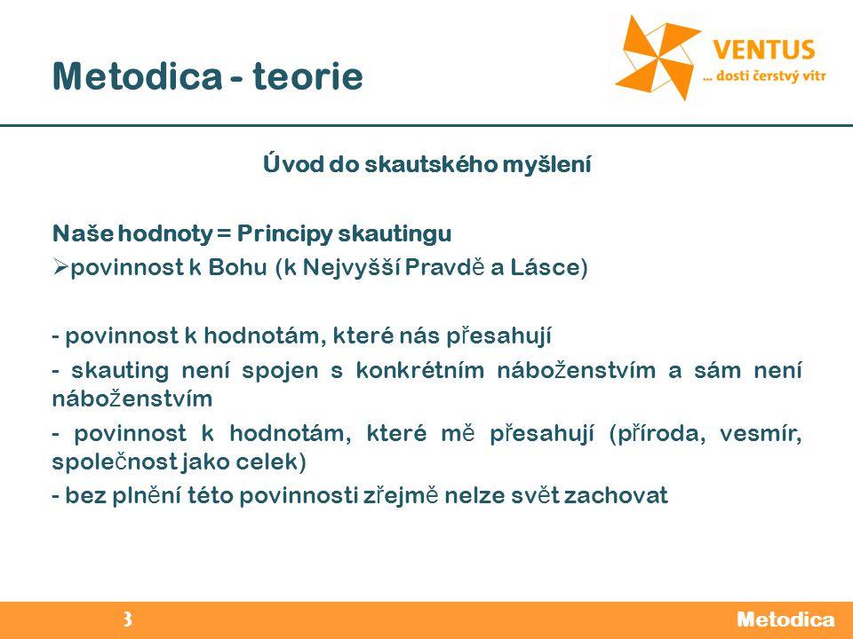 2012 / 2013 Metodica - teorie Metodica Úvod do skautského myšlení Naše hodnoty = Principy skautingu  povinnost k Bohu (k Nejvyšší Pravd ě a Lásce) -