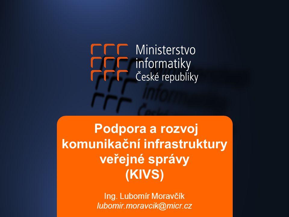Podpora a rozvoj komunikační infrastruktury veřejné správy (KIVS) Ing. Lubomír Moravčík lubomir.moravcik@micr.cz