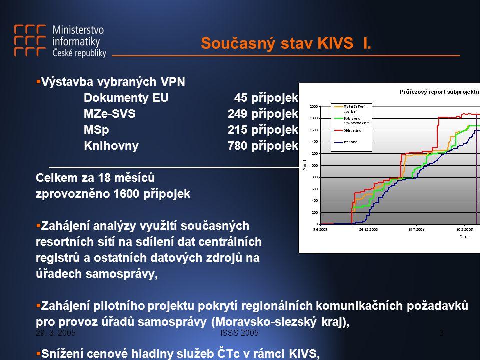 29. 3. 2005ISSS 20053 Současný stav KIVS I.  Výstavba vybraných VPN Dokumenty EU 45 přípojek MZe-SVS249 přípojek MSp215 přípojek Knihovny780 přípojek