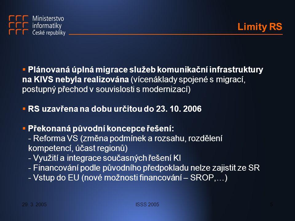 29. 3. 2005ISSS 20055 Limity RS  Plánovaná úplná migrace služeb komunikační infrastruktury na KIVS nebyla realizována (vícenáklady spojené s migrací,