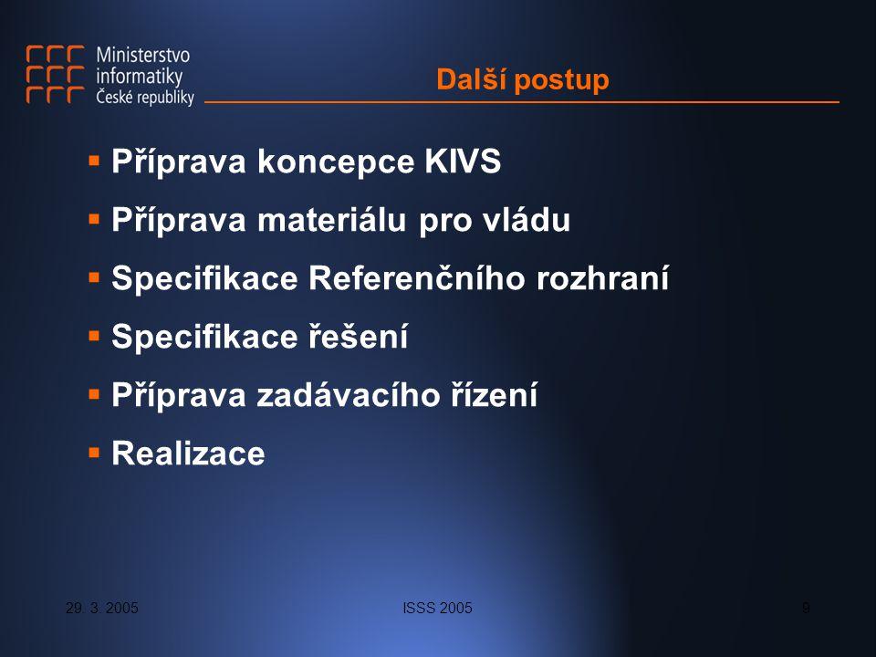 29. 3. 2005ISSS 20059 Další postup  Příprava koncepce KIVS  Příprava materiálu pro vládu  Specifikace Referenčního rozhraní  Specifikace řešení 