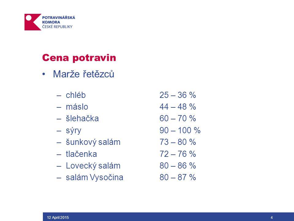 Cena potravin Marže řetězců –chléb 25 – 36 % –máslo44 – 48 % –šlehačka60 – 70 % –sýry90 – 100 % –šunkový salám73 – 80 % –tlačenka72 – 76 % –Lovecký salám 80 – 86 % –salám Vysočina 80 – 87 % 12 April 20154