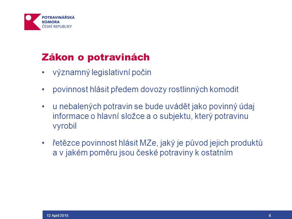 Zákon o potravinách významný legislativní počin povinnost hlásit předem dovozy rostlinných komodit u nebalených potravin se bude uvádět jako povinný údaj informace o hlavní složce a o subjektu, který potravinu vyrobil řetězce povinnost hlásit MZe, jaký je původ jejich produktů a v jakém poměru jsou české potraviny k ostatním 12 April 20156