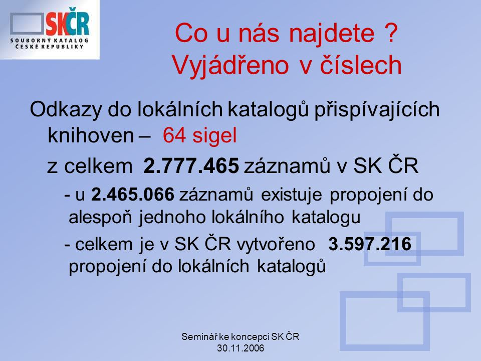 Seminář ke koncepci SK ČR 30.11.2006 Co u nás najdete .