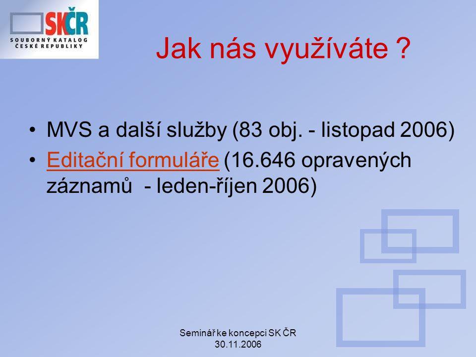 Seminář ke koncepci SK ČR 30.11.2006 Jak nás využíváte ? MVS a další služby (83 obj. - listopad 2006) Editační formuláře (16.646 opravených záznamů -