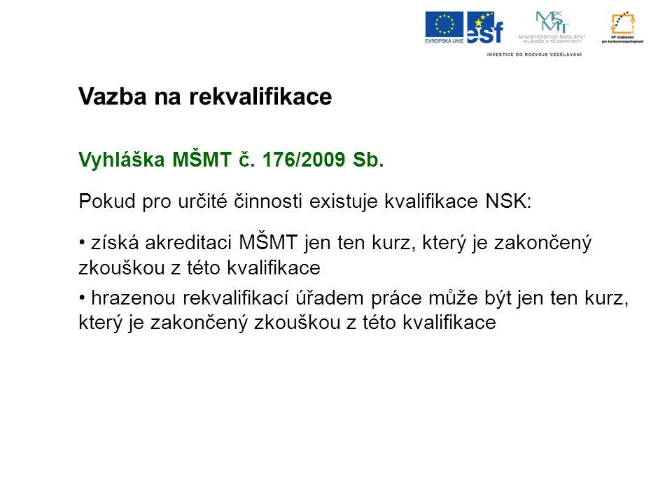 Vazba na rekvalifikace Vyhláška MŠMT č. 176/2009 Sb. Pokud pro určité činnosti existuje kvalifikace NSK: získá akreditaci MŠMT jen ten kurz, který je