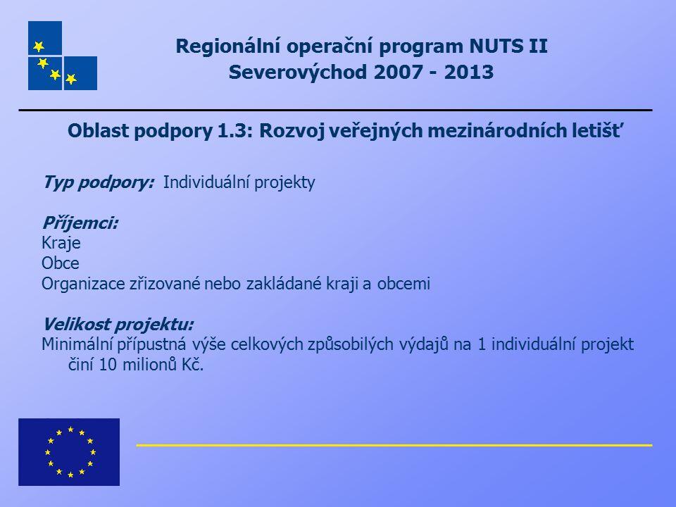Regionální operační program NUTS II Severovýchod 2007 - 2013 Oblast podpory 1.3: Rozvoj veřejných mezinárodních letišť Typ podpory: Individuální proje