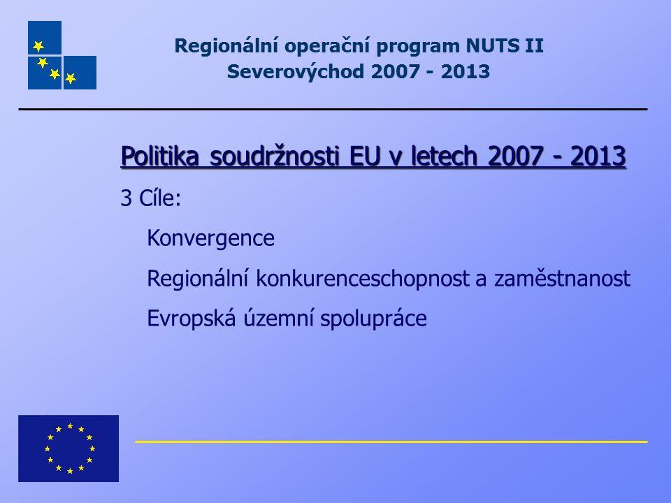 Regionální operační program NUTS II Severovýchod 2007 - 2013 Politika soudržnosti EU v letech 2007 - 2013 3 Cíle: Konvergence Regionální konkurencesch