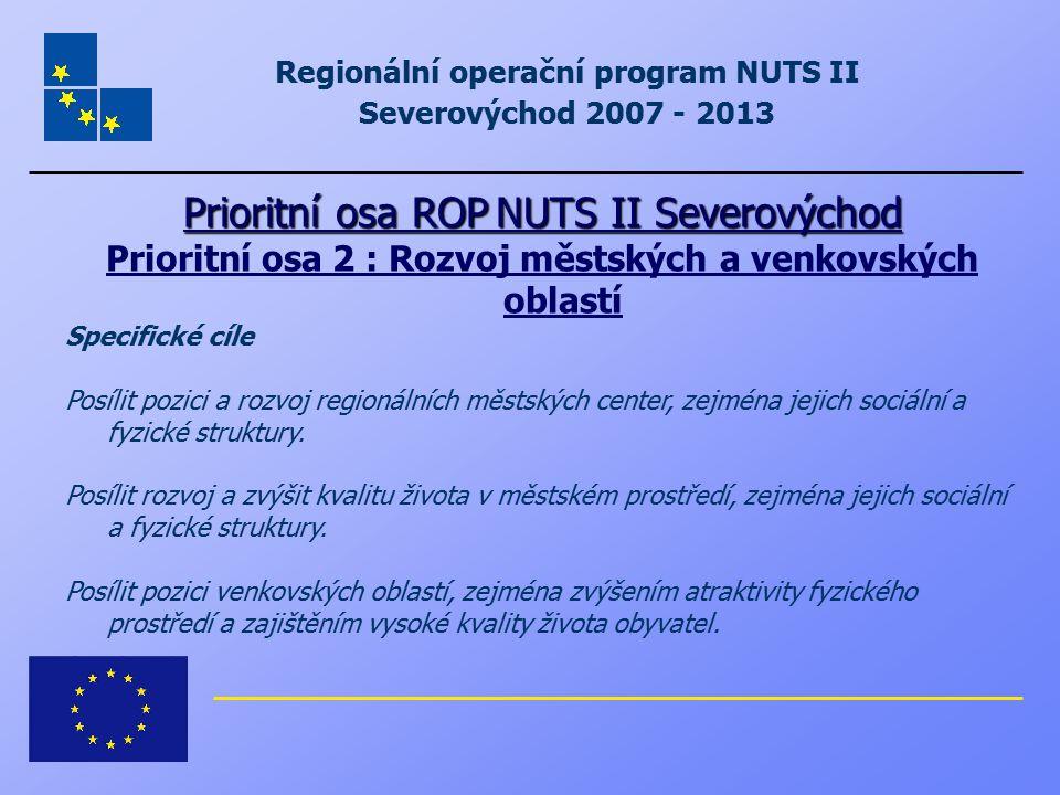 Regionální operační program NUTS II Severovýchod 2007 - 2013 Prioritní osa ROP NUTS II Severovýchod Prioritní osa 2 : Rozvoj městských a venkovských o
