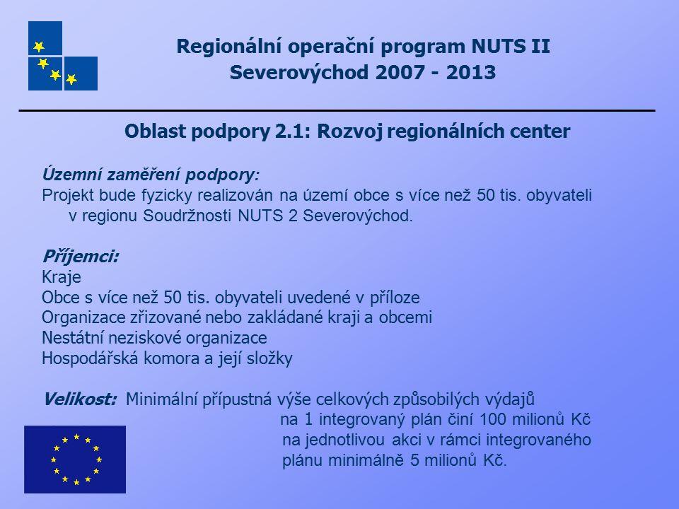Regionální operační program NUTS II Severovýchod 2007 - 2013 Oblast podpory 2.1: Rozvoj regionálních center Územní zaměření podpory: Projekt bude fyzi