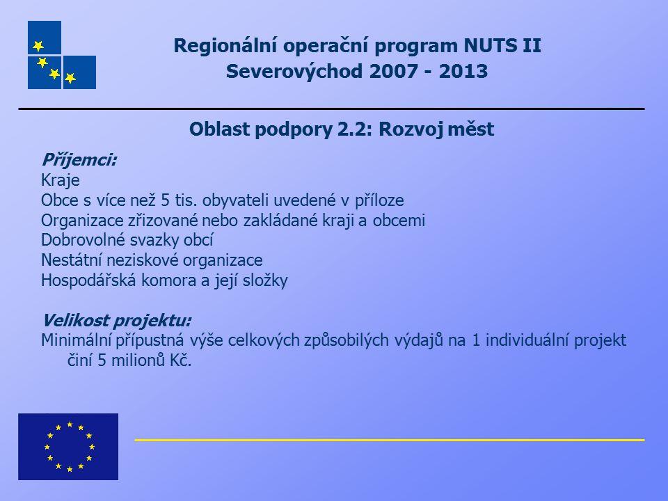 Regionální operační program NUTS II Severovýchod 2007 - 2013 Oblast podpory 2.2: Rozvoj měst Příjemci: Kraje Obce s více než 5 tis. obyvateli uvedené