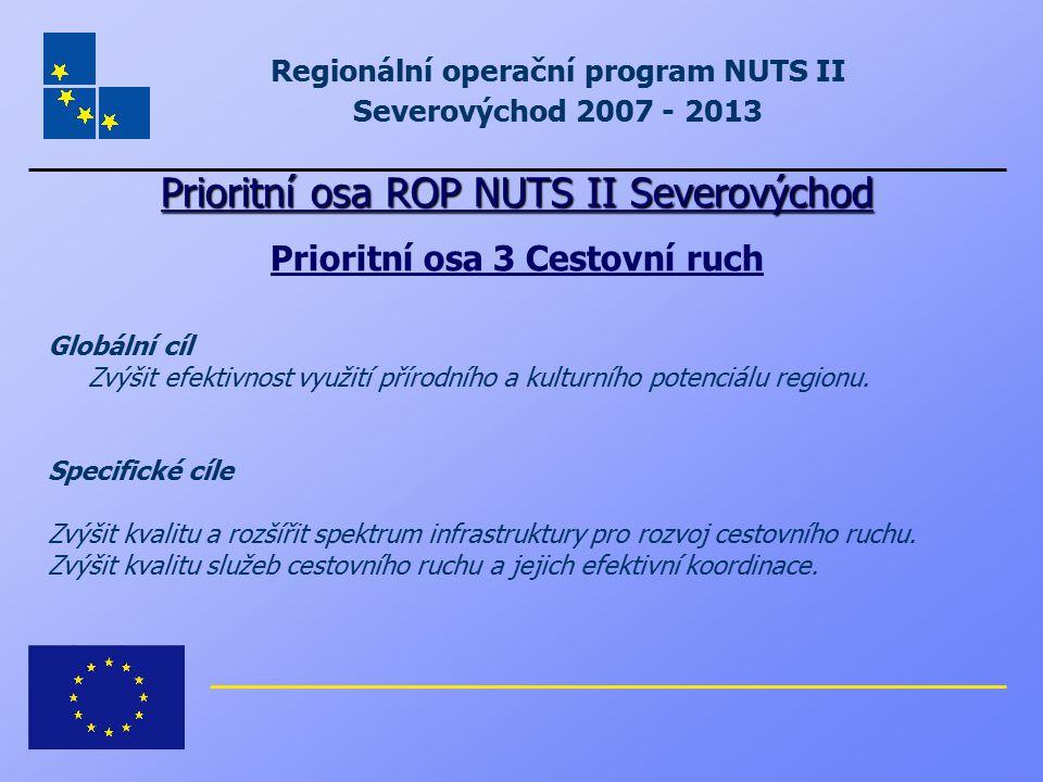 Regionální operační program NUTS II Severovýchod 2007 - 2013 Prioritní osa ROP NUTS II Severovýchod Prioritní osa 3 Cestovní ruch Globální cíl Zvýšit