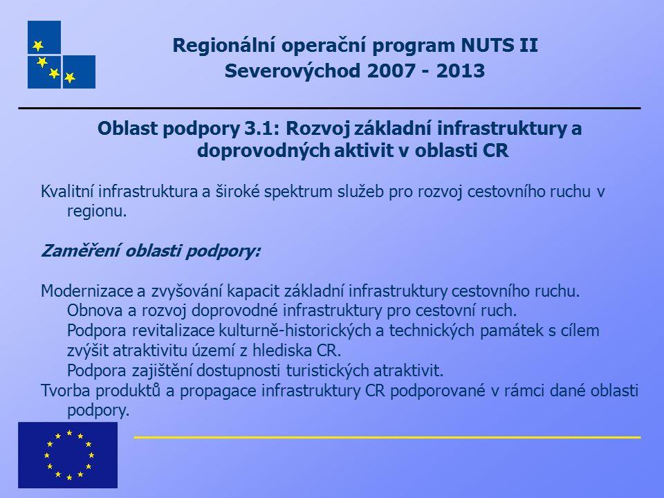 Regionální operační program NUTS II Severovýchod 2007 - 2013 Oblast podpory 3.1: Rozvoj základní infrastruktury a doprovodných aktivit v oblasti CR Kv