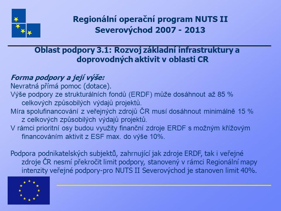 Regionální operační program NUTS II Severovýchod 2007 - 2013 Oblast podpory 3.1: Rozvoj základní infrastruktury a doprovodných aktivit v oblasti CR Fo