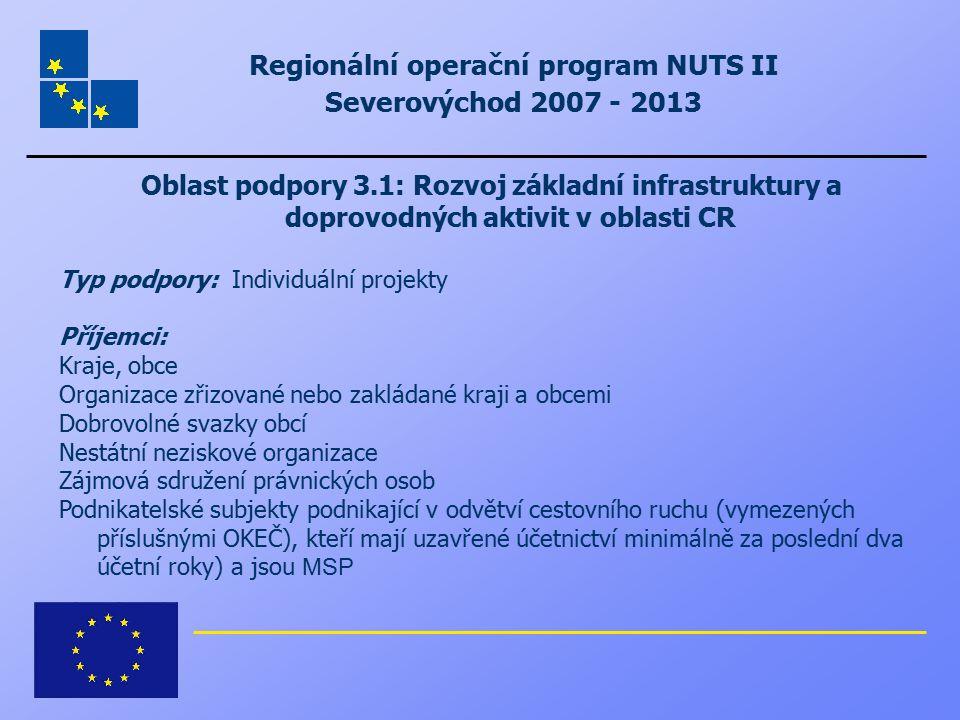 Regionální operační program NUTS II Severovýchod 2007 - 2013 Oblast podpory 3.1: Rozvoj základní infrastruktury a doprovodných aktivit v oblasti CR Ty