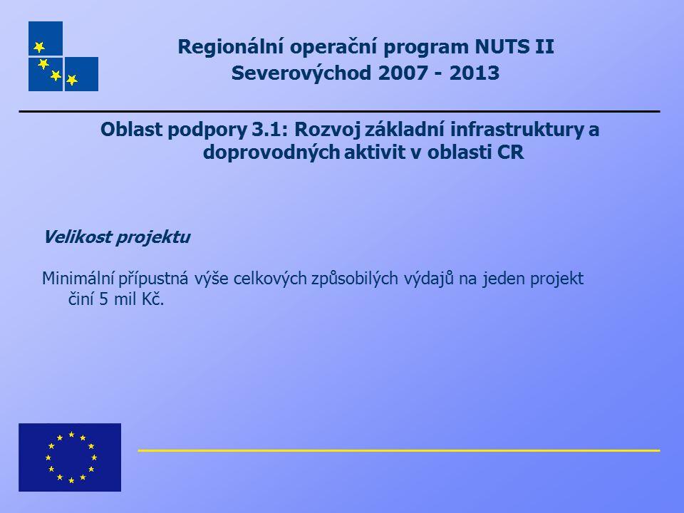 Regionální operační program NUTS II Severovýchod 2007 - 2013 Oblast podpory 3.1: Rozvoj základní infrastruktury a doprovodných aktivit v oblasti CR Ve
