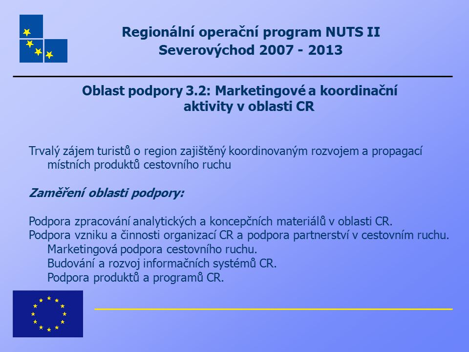 Regionální operační program NUTS II Severovýchod 2007 - 2013 Oblast podpory 3.2: Marketingové a koordinační aktivity v oblasti CR Trvalý zájem turistů