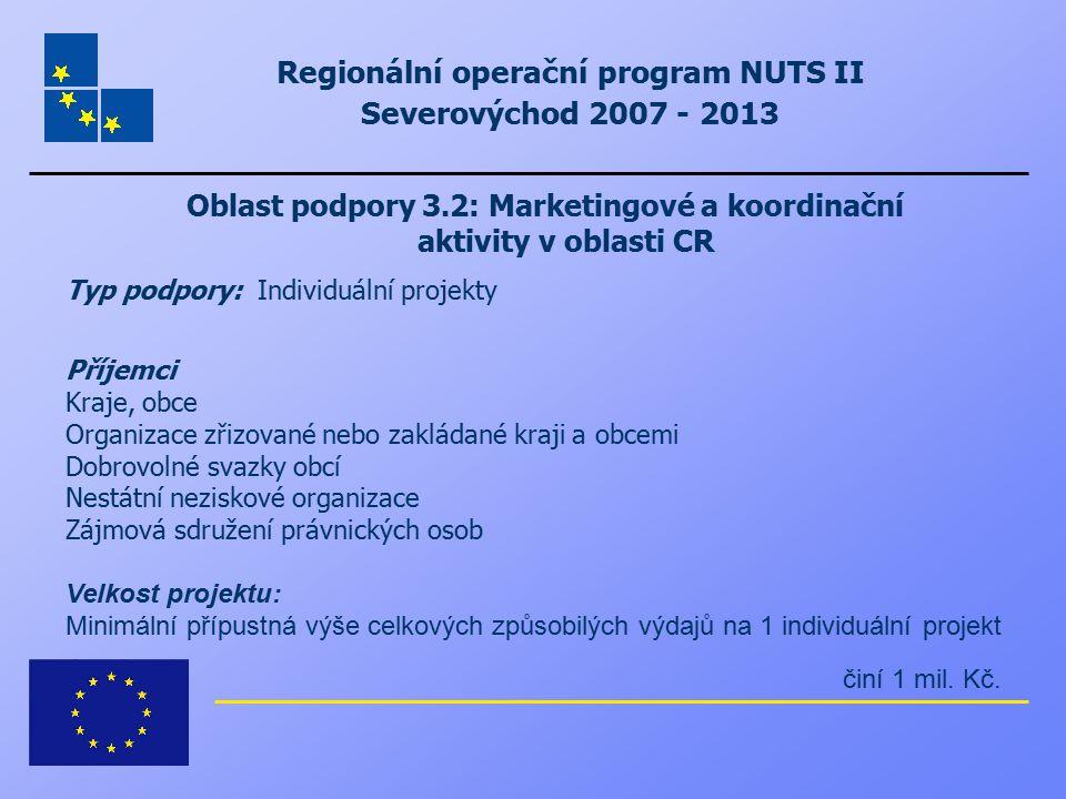 Regionální operační program NUTS II Severovýchod 2007 - 2013 Oblast podpory 3.2: Marketingové a koordinační aktivity v oblasti CR Typ podpory: Individ