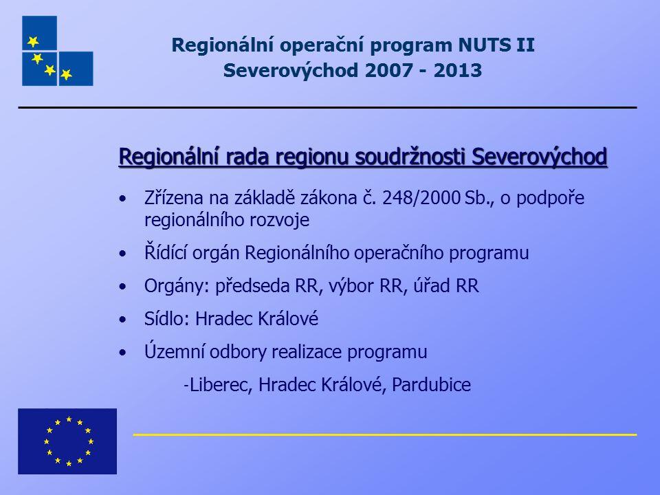 Regionální rada regionu soudržnosti Severovýchod Zřízena na základě zákona č. 248/2000 Sb., o podpoře regionálního rozvoje Řídící orgán Regionálního o