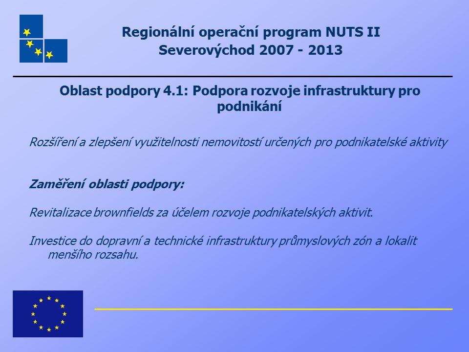 Regionální operační program NUTS II Severovýchod 2007 - 2013 Oblast podpory 4.1: Podpora rozvoje infrastruktury pro podnikání Rozšíření a zlepšení vyu