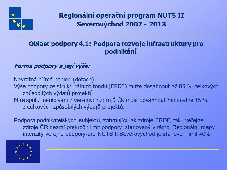 Regionální operační program NUTS II Severovýchod 2007 - 2013 Oblast podpory 4.1: Podpora rozvoje infrastruktury pro podnikání Forma podpory a její výš