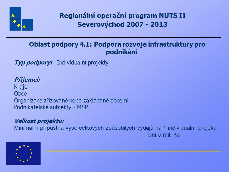Regionální operační program NUTS II Severovýchod 2007 - 2013 Oblast podpory 4.1: Podpora rozvoje infrastruktury pro podnikání Typ podpory: Individuáln