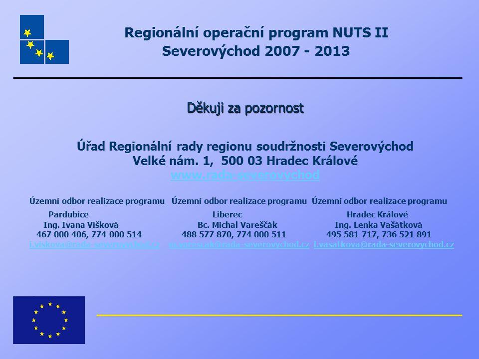 Regionální operační program NUTS II Severovýchod 2007 - 2013 Děkuji za pozornost Úřad Regionální rady regionu soudržnosti Severovýchod Velké nám. 1, 5