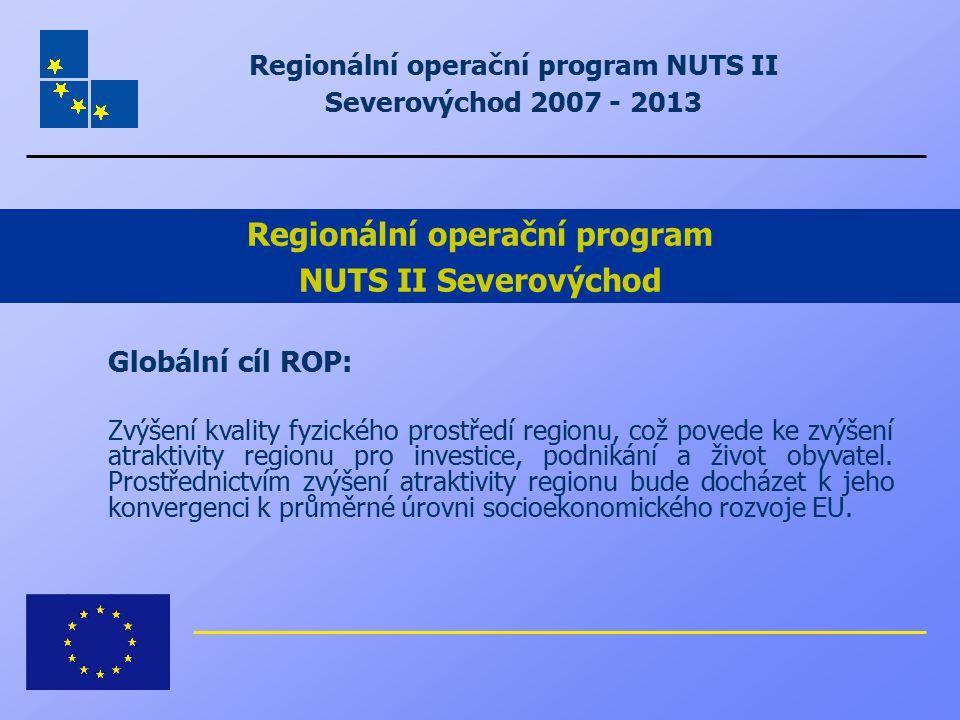 Regionální operační program NUTS II Severovýchod 2007 - 2013 Globální cíl ROP: Zvýšení kvality fyzického prostředí regionu, což povede ke zvýšení atra
