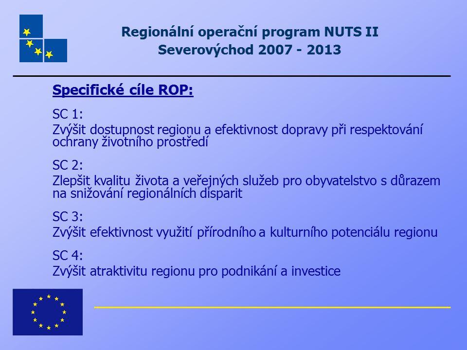 Regionální operační program NUTS II Severovýchod 2007 - 2013 Specifické cíle ROP: SC 1: Zvýšit dostupnost regionu a efektivnost dopravy při respektová