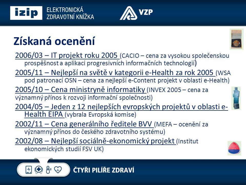 Získaná ocenění 2006/03 – IT projekt roku 2005 (CACIO – cena za vysokou společenskou prospěšnost a aplikaci progresivních informačních technologií ) 2005/11 – Nejlepší na světě v kategorii e-Health za rok 2005 (WSA pod patronací OSN – cena za nejlepší e-Content projekt v oblasti e-Health) 2005/10 – Cena ministryně informatiky (INVEX 2005 – cena za významný přínos k rozvoji informační společnosti) 2004/05 – Jeden z 12 nejlepších evropských projektů v oblasti e- Health EIPA (vybrala Evropská komise) 2002/11 – Cena generálního ředitele BVV (MEFA – ocenění za významný přínos do českého zdravotního systému) 2002/08 – Nejlepší sociálně-ekonomický projekt (Institut ekonomických studií FSV UK)