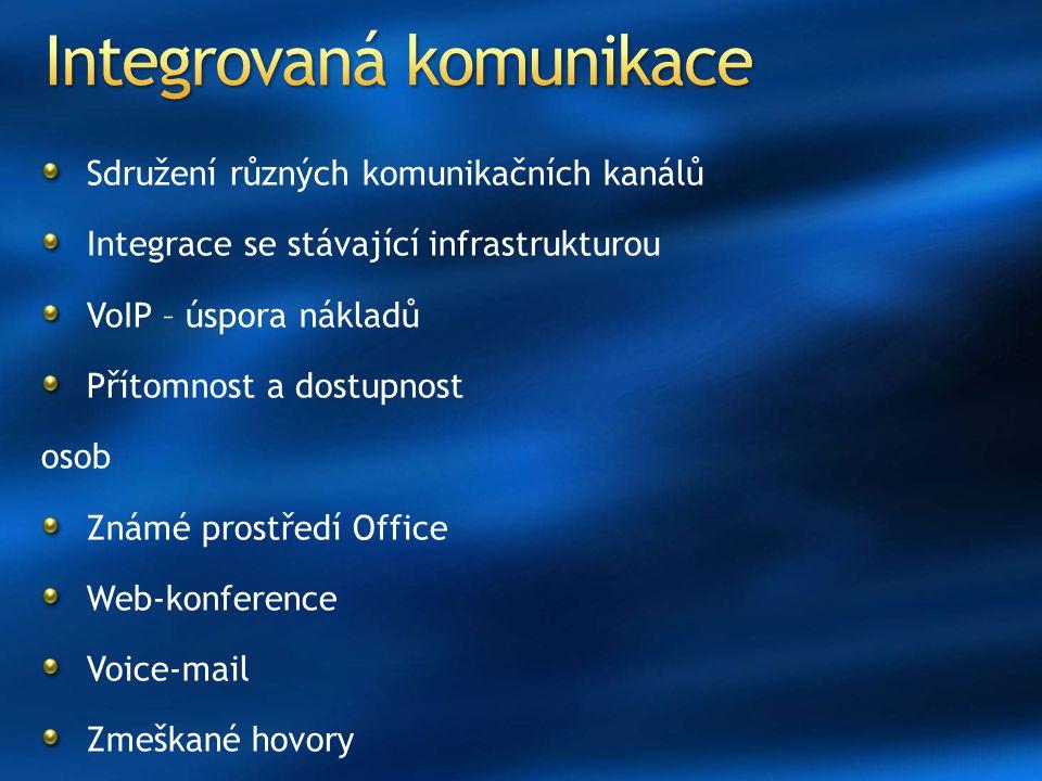 Sdružení různých komunikačních kanálů Integrace se stávající infrastrukturou VoIP – úspora nákladů Přítomnost a dostupnost osob Známé prostředí Office