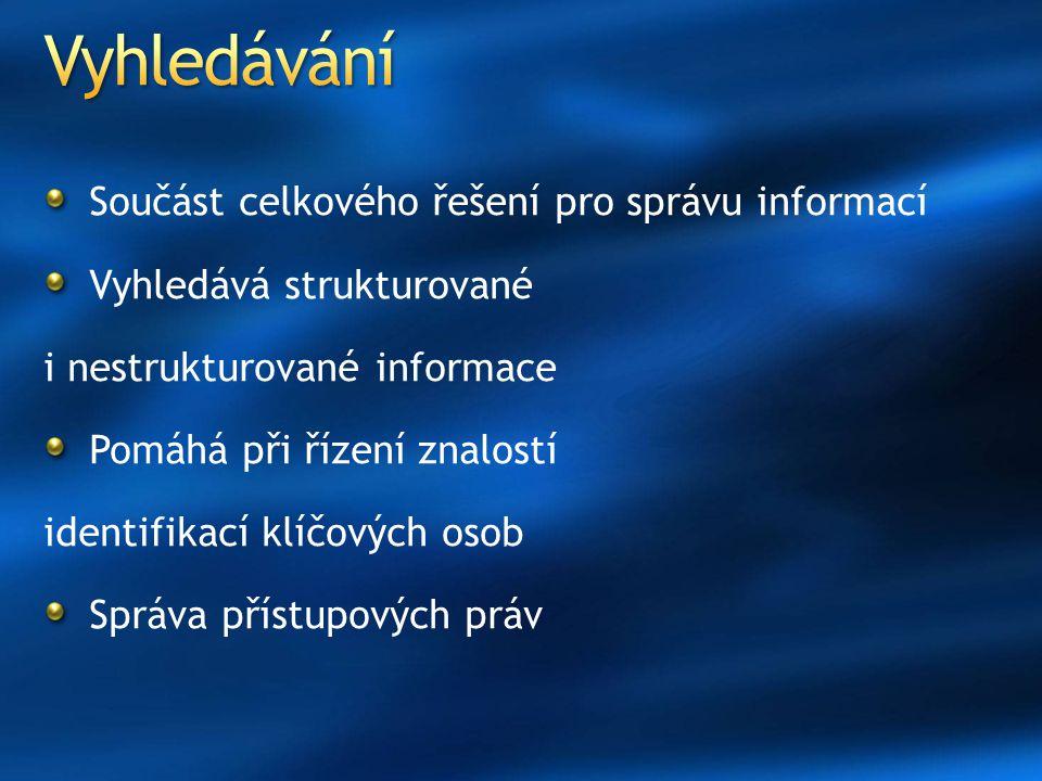 Součást celkového řešení pro správu informací Vyhledává strukturované i nestrukturované informace Pomáhá při řízení znalostí identifikací klíčových os
