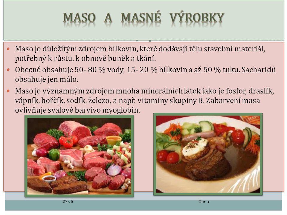 DRUHY MASA  Vepřové maso  Má narůžovělou barvu, je tučnější než hovězí  Druhy masa – např.