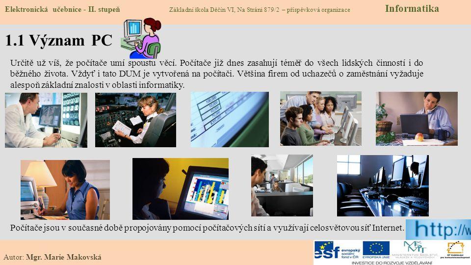 Elektronická učebnice - II. stupeň Základní škola Děčín VI, Na Stráni 879/2 – příspěvková organizace Informatika Autor: Mgr. Marie Makovská 1.1 Význam