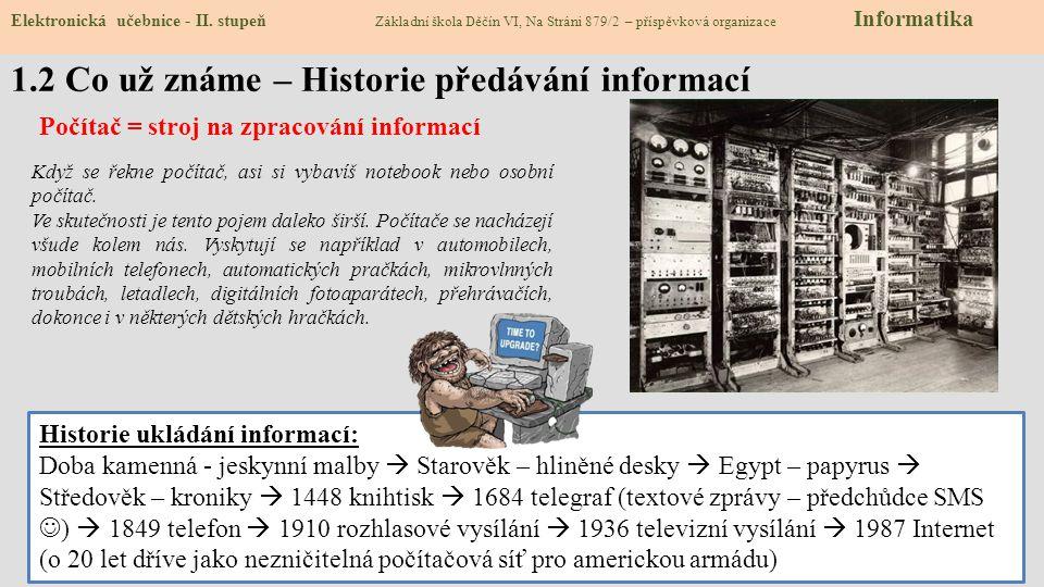 1.2 Co už známe – Historie předávání informací Elektronická učebnice - II. stupeň Základní škola Děčín VI, Na Stráni 879/2 – příspěvková organizace In