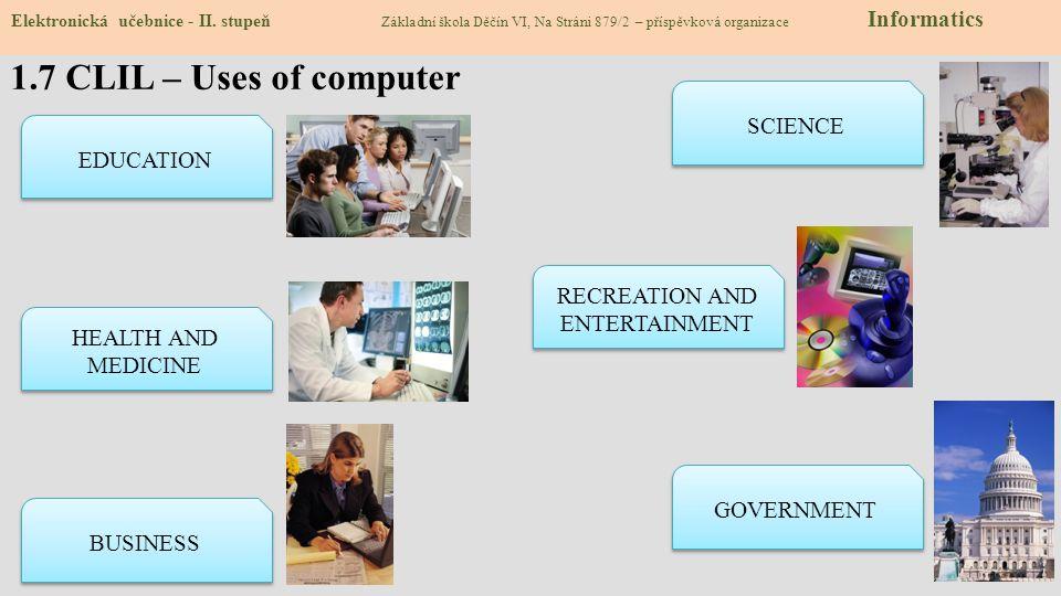 1.7 CLIL – Uses of computer Elektronická učebnice - II. stupeň Základní škola Děčín VI, Na Stráni 879/2 – příspěvková organizace Informatics EDUCATION